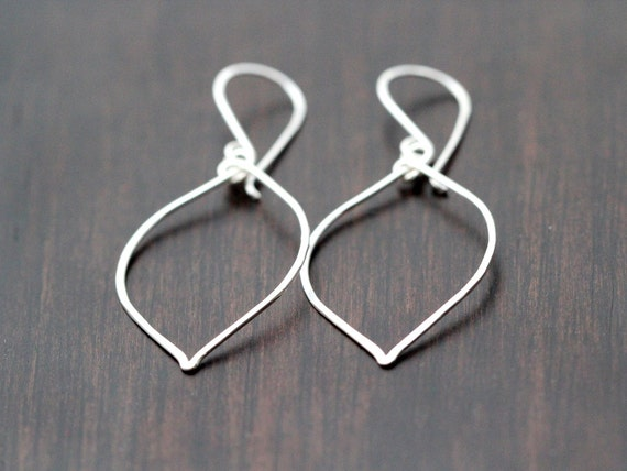 Silver Leaf Earrings - Sterling Silver Leaf Style Hoops, Minimalist Jewelry, Bohemian Fashion