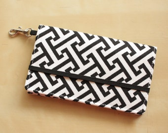 Black and White Iphone Wallet - Cell Phone Wallet - Graphic Print - Black and White - Smart Phone Wallet - Custom Size