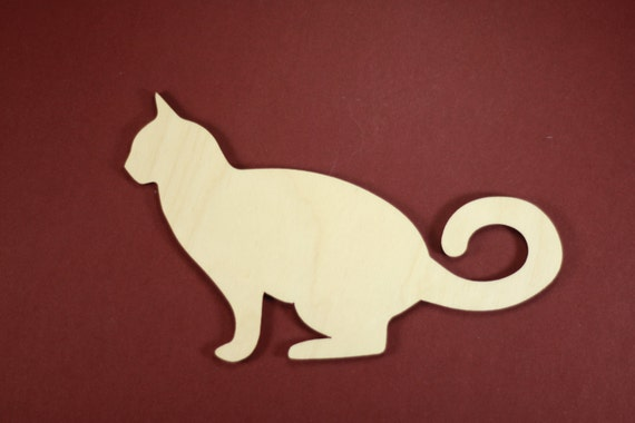 Kitty Cat Shape Unfinished Wood Laser Cut Shapes Crafts