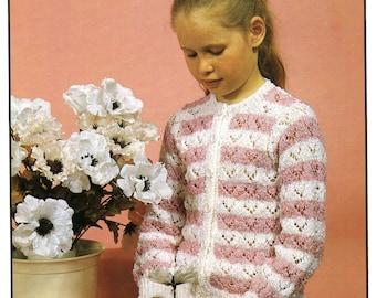 Vintage Girl's Cardigan, Knitting Pattern, 1960 (PDF) Pattern, Hayfield 1909