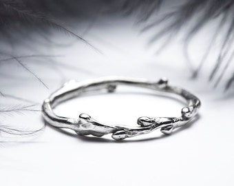 14k white gold skinny stacking ring - twig wedding band - In Her Dreams - RedSofa jewelry
