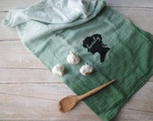 Rustic Kitchen // Ombre Hand Towel // Farmhouse Kitchen // Flour Sack // Printed Green Urban Cottage - SweetMeas