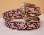 Pink Leather Girls Cowgirl Floral Tooled Belt Silver Buckle Belt Tip Small Waist Vintage 1970s 1980s