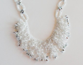 Silver lined crystal beadwoven fringe necklace, bling