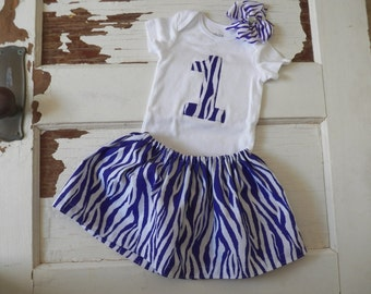 Girl's 1st Birthday outfit  - purple and white zebra print