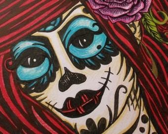 RED // Original Framed Calavera Girl Art