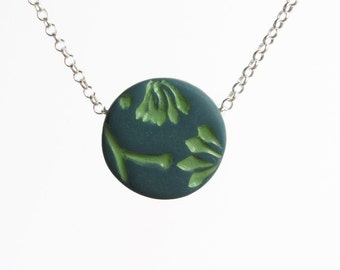 Eucalyptus Necklace, Teal Green, Spring Green, Rustic Botanical Pendant, Botany Jewelry, Gift for a Gardener, Sterling Silver Chain