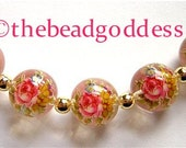 5 Beautiful Japanese TENSHA Beads Rose Bouquet on Crystal 12mm