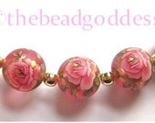 5 Beautiful Japanese TENSHA Beads Pink Rose on Pink Frost 12mm