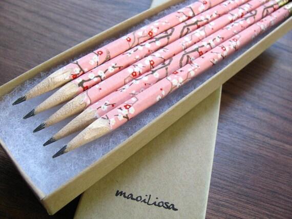 washi-wrapped japanese pencils - set of 5 - springtime sweetness