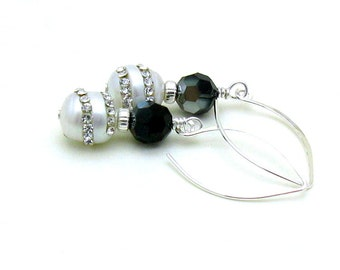 Black and White Pearl Rhinestone Dangle Earrings, Crystal Pearl Drop Earrings, Bridal, For Her Under 100