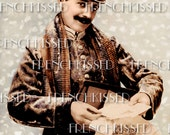 Sexy French Mailman in Snow Letters Packages Gifts Victorian Postcard Digital Scan