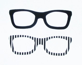 Clark Kent/Nerd Style Retro Glasses...Fabric Iron On Appliques...Set Of 2