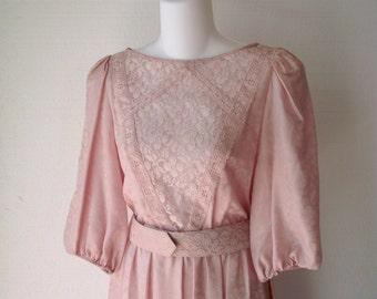 Vintage 1970s Dress Pink Lace Cut Out Revealing Vintage Size 8