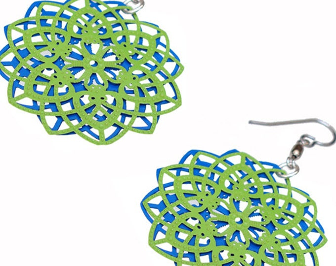 Spirograph Stainless Steel Earrings in Apple Green/Blue