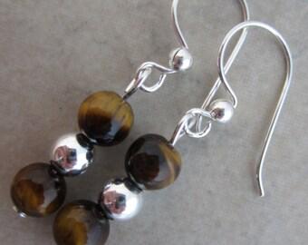tiger eye sterling silver dangle earrings