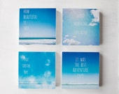 Set of 4 bright blue beach photo blocks - beach home decor wall art summer ocean typography beach decor turquoise sky typographic print