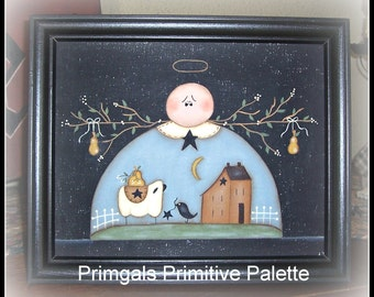 Primitive Angel Picture Saltbox Sheep Canvas Home Decor Framed-Handpainted Country Folk Art Decoration