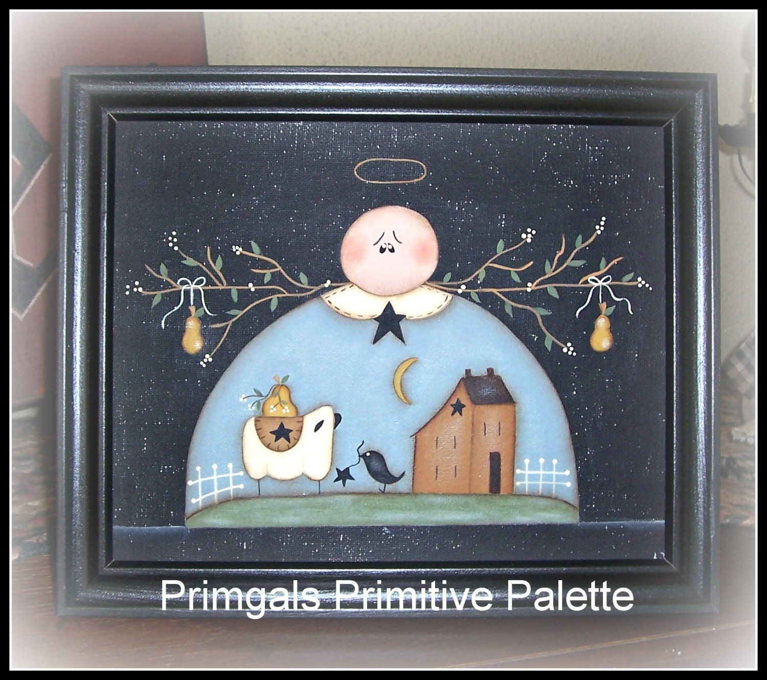 Primitive Angel Picture Saltbox Sheep Canvas Home Decor By