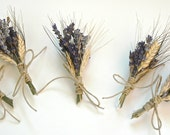 12 Custom Lavender  and Wheat Boutonnieres or Corsages