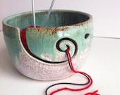 Large Size White Green Wheel Thrown Yarn Bowl - Made to order