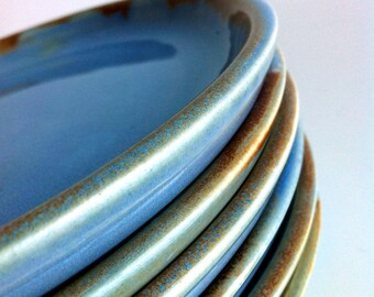 Wheel Thrown Handmade 6 Stoneware Plates  MADE TO ORDER