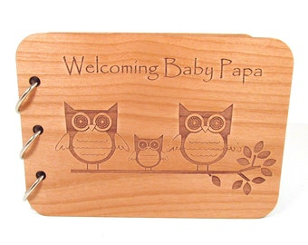 Owls Baby Shower Guest Book - Real Wood Engraved Cover - Personalized
