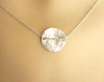 Sterling silver   disk necklace, hammered disk