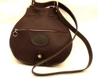Rustic choclate leather foldover bag