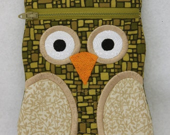 In the Hoop Owl Zipper Cases Machine Embroidery Design Files Instant Download