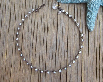 GLOW in the dark anklet with silver leaf charm, boho, comfortable, earthy, unique glow beads