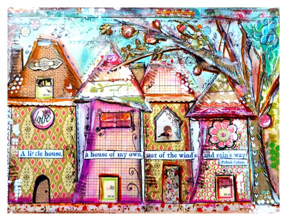 Items Similar To Art Print Collage Work Whimsical Houses
