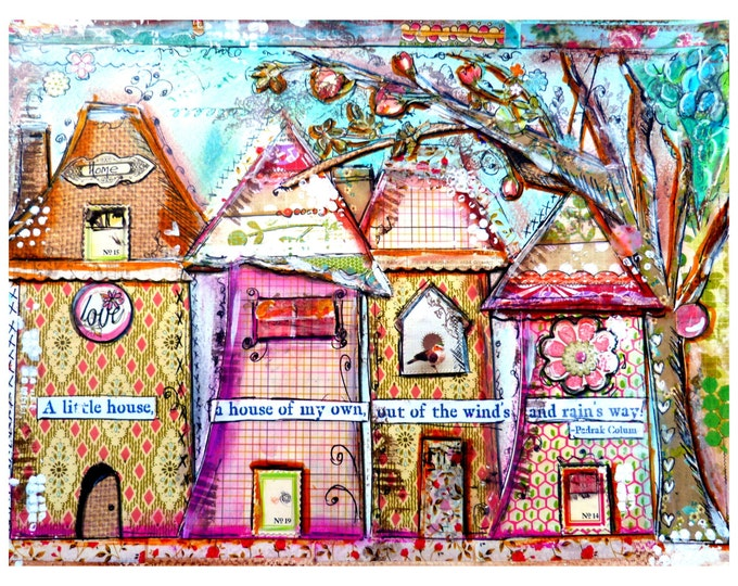 Art Print, Collage Work, Whimsical Houses, Little House