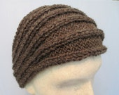 Hand Knit Brown Warm Wool Headband.