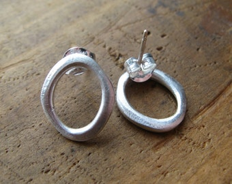 Sterling Silver Organic O Post Earrings