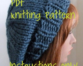 Instant Download Knitting Pattern, Knit Hat Pattern, Easy Beret, Chunky, winter, ski, urban, boho, teen