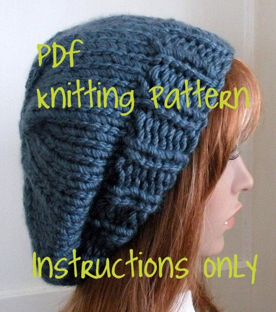 Beret Knitting Pattern Easy : Instant Download Knitting Pattern Knit Hat by TikiFiberCrafts
