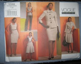 Vogue Misses Jacket/Top/Dress/Skirt/Pants Sz 14-20   V1068  Uncut