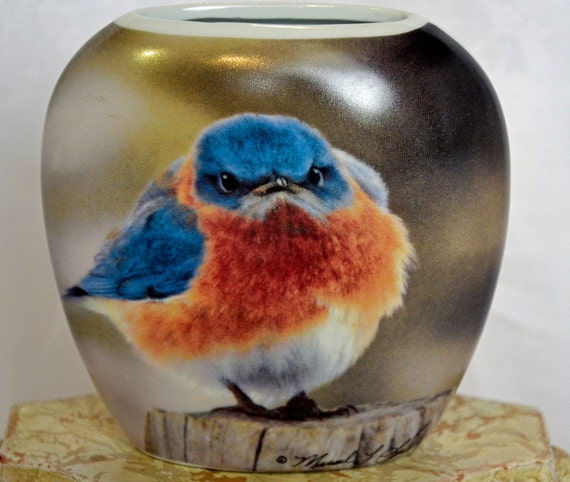 Michael L Smith The Mad Bluebird 'FEATURED' 1979 Collector Vase porcelain vintage collectible ceramics home decor art photography bird