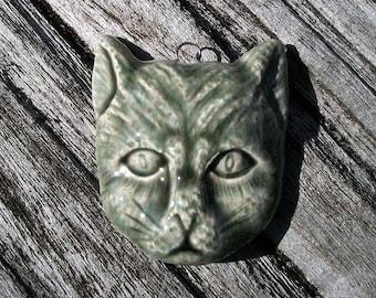Ceramic Black Cat Face Pendant