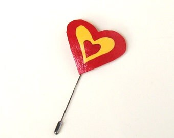 Heart Brooch Stick Pin Heart Gourd Pin Brooch Red Yellow Bright