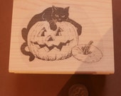 Black cat on pumpkin rubber stamp WM P17
