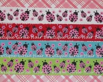 """7/8"""" Hot Pink  and Black Polka Dot Ladybug Grosgrain Ribbon 1 yd- Ribbon by the Yard MTMG M2MG"""