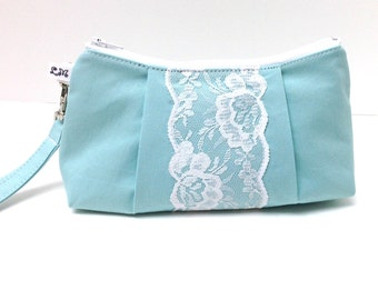 Wedding Clutch Purse Rectangular Wristlet - Lace on Mint Blue Green