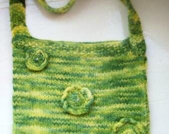 SALE Felt messenger bag hand dyed green yellow flowers