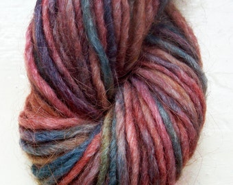 Hand painted yarn 50g dark blue soft olive teal deep red