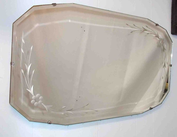 Vintage Thirties Floral Etched & Beveled Mirror * Pick-up Only**