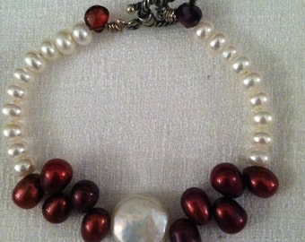 bracelet, pearl and garnet