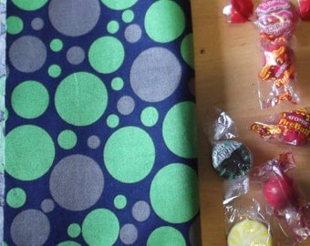 Reusable cloth snack bag - Green Gray Dots on Navy also use for tea first aid cosmetics jewelry