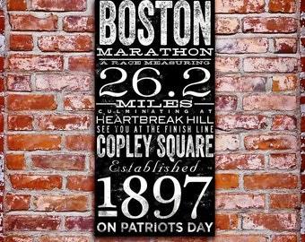Boston Marathon original typography artwork by stephen fowler on gallery wrapped canvas